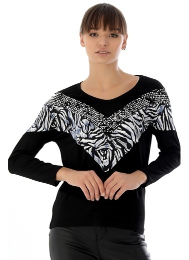 Emjey Ön Leoparlı Pullu Bluz Siyah